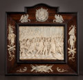 Decorative Arts, French:Other , A PAIR OF FRENCH FRAMED IVORY CARVINGS . Unknown maker, possiblyParis, France, circa 1850. Unmarked. 13-7/8 high x 14-1/4 i...(Total: 2 Items)