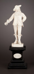 Decorative Arts, Continental:Other , A CONTINENTAL CARVED IVORY FIGURE. Maker unknown, probably France, circa 1880. Unmarked. 11-1/2 inches high (29.2 cm) (with ...