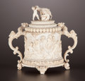 Decorative Arts, French:Other , A FRENCH IVORY TWO-HANDLED COVERED CUP . Maker unknown, probablyDieppe, France, circa 1860. Unmarked. 7-1/2 inches high (19...
