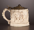 Decorative Arts, Continental:Other , A GERMAN GILT METAL MOUNTED IVORY TANKARD . Maker unknown, Germanycirca 1860. Marks: BC. 6-1/4 inches high (15.9 cm). ...
