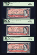 Canadian Currency: , BC-38bA $2 1954 Replacement Notes Three Consecutive Examples.. ... (Total: 3 notes)