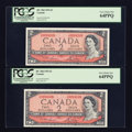 Canadian Currency: , BC-38d $2 1954 Four Consecutive Examples.. ... (Total: 4 notes)