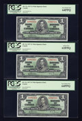 Canadian Currency: , BC-21c $1 1937 Wide Signature Panel Five Consecutive Examples.. ...(Total: 5 notes)