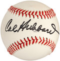 Autographs:Baseballs, 1970's Cal Hubbard Single Signed Baseball, PSA NM-MT+ 8.5....
