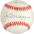 "Autographs:Baseballs, 1990's Joe DiMaggio Single Signed ""Statistics"" Baseball...."