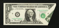 Error Notes:Foldovers, Fr. 1908-F $1 1974 Federal Reserve Note. Choice AboutUncirculated.. ...