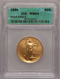 1986 G$25 Half-Ounce Gold Eagle MS64 ICG. NGC Census: (7/12577). PCGS Population (6/9270). Mintage: 599,566. Numismedia...