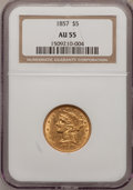 Liberty Half Eagles: , 1857 $5 AU55 NGC. NGC Census: (47/157). PCGS Population (31/61).Mintage: 98,180. Numismedia Wsl. Price for problem free NG...