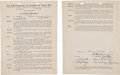 Autographs:Others, 1940 Ray Brown Signed Puerto Rican League Contract....