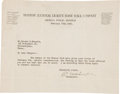Autographs:Letters, 1925 Christy Mathewson Signed Letter....