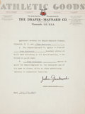 Autographs:Others, 1930 John Grabowski Signed Glove Contract....