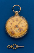 Timepieces:Pocket (pre 1900) , Grosclaude & Ginnel, Swiss, 18k Fancy Dial Key Wind. ...