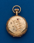 Timepieces:Pocket (post 1900), Elgin, 14k Gold, 0 Size With Diamonds & Ruby. ...