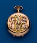 Timepieces:Pocket (pre 1900) , Elgin, 6 Size, Multi-Color 14k Gold Hunters Case. ...