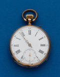 Timepieces:Pocket (post 1900), Swiss, 14k Gold, 46 mm Open Face. ...