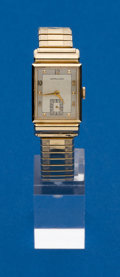 Timepieces:Wristwatch, Hamilton, 14k Gold Rectangular Wristwatch. ...