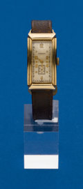 Timepieces:Wristwatch, Longines, Vintage 14k Gold Rectangular Wristwatch. ...