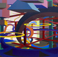 Paintings, AL HELD (American, 1928-2005). Vorcex V, 1986. Acrylic on canvas. 84 x 84 inches (213.4 x 213.4 cm). ...