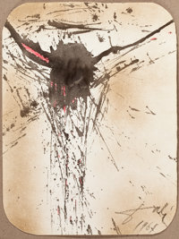 SALVADOR DALÍ (Spanish, 1904-1989) Christ on the Cross, 1961 Ink and watercolor on paperboard 18
