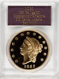 "S.S.C.A. Relic Gold Medals, 1855 $50 SSCA Relic Gold Medal ""1855 Kellogg & Co. Fifty"" Gem Proof PCGS...."