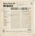 Music Memorabilia:Autographs and Signed Items, The Beatles Signed Please Please Me Album Cover....