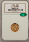 Liberty Quarter Eagles, 1859 $2 1/2 Old Reverse, Type One AU58 NGC. CAC....