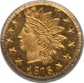 California Fractional Gold: , 1875 25C Indian Round 25 Cents, BG-878, R.3, MS65 PCGS. PCGSPopulation (15/1). NGC Census: (2/1). (#10739)...