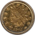 California Fractional Gold: , 1876 50C Indian Round 50 Cents, BG-1063, Low R.6, MS64 PCGS. PCGSPopulation (5/1). NGC Census: (0/1). (#10892)...