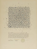 Fine Art - Painting, American:Contemporary   (1950 to present)  , Paul Maxwell (American, born 1925). . Abstract Drawingson Stock Certificates (a pair). Undated. Sto...