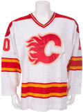 Hockey Cards:Lots, 1988-89 Gary Roberts Game Worn, Signed Calgary Flames Jersey - WithCalgary Olympic Patch....
