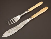A CASED VICTORIAN SILVER PLATE AND IVORY FISH EATING SET Mappin Brothers, Sheffield, England, circa 1880 Marks