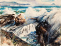 Fine Art - Work on Paper:Watercolor, HENRY GEORGE KELLER (American, 1869-1949). Ocean Reach Near San Diego. Watercolor on paper. 15 x 20 inches (38.1 x 50.8 ...
