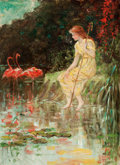 Fine Art - Painting, American:Modern  (1900 1949)  , FREDERICK STUART CHURCH (American, 1842-1924). Maiden withFlamingos, 1916. Oil on canvas . 22 x 16 inches (55.9 x 40.6...