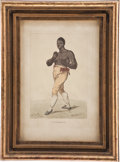 Boxing Collectibles:Memorabilia, 19th Century Tom Molineaux Hand Colored Engraving....