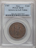 Colonials, 1787 1C Massachusetts Cent, Horned Eagle XF45 PCGS. Ryder 2b-A,W-6040, R.3....
