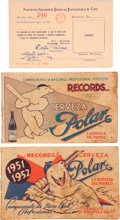 Baseball Collectibles:Others, 1950's Cuban Baseball Schedule and Player's Pass Lot of 3....