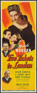 "Movie Posters:War, Two Tickets to London (Universal, 1943). Insert (14"" X 36""). War.. ..."