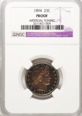 Proof Barber Quarters, 1894 25C --Artificial Toning--NGC Details. Proof. NGC Census: (3/251). PCGS Population (7/252). Mintage: 972. Numismedia Wsl...