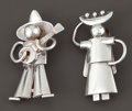 Silver Smalls:Other , TWO MEXICAN SILVER BROOCHES . Fred Davis, Mexico City, Mexico,circa 1935. Marks: FD (conjoined), MADE IN MEXICO,STER... (Total: 2 Items)