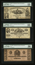 Confederate Notes:Group Lots, T37 $5 1861, T42 $2 1862, & T62 $1 1863.. ... (Total: 3 notes)