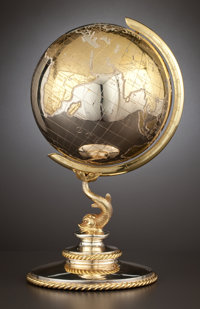 A GERMAN SILVER AND SILVER GILT GLOBE Maker unknown, Germany, circa 1980 Marks: MADE IN EASTERN GERMANY, 92