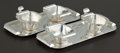 Silver Holloware, Continental:Holloware, A PAIR OF GERMAN SILVER TRAYS WITH CREAMER AND SUGAR BOWLS .Wilkens & Söhne, Bremen-Hemelingen, German, circa 1925. Marks:... (Total: 6 Items)