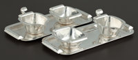 A PAIR OF GERMAN SILVER TRAYS WITH CREAMER AND SUGAR BOWLS Wilkens & Söhne, Bremen-Hemelingen, German, circa 19...