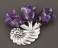Silver Smalls:Other , A MEXICAN SILVER AND AMETHYST QUARTZ BROOCH . William Spratling,Taxco, Mexico, circa 1942. Marks: SPRATLING MADE IN MEX...