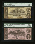 Confederate Notes:Group Lots, T51 $20 1862 & T53 $5 1862. ... (Total: 2 notes)