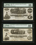 Confederate Notes:Group Lots, T39 $100 1862 & T40 $100 1862. ... (Total: 2 notes)
