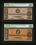 Confederate Notes:Group Lots, T54 $2 1862 & T70 $2 1864. ... (Total: 2 notes)