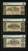 Confederate Notes:Group Lots, T58 $20 1863, T59 $10 1863, & T60 $5 1863. ... (Total: 3 notes)