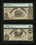 Confederate Notes:Group Lots, T13 $100 1861 & T18 $20 1861. ... (Total: 2 notes)