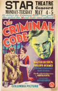 "Movie Posters:Drama, The Criminal Code (Columbia, 1931). Window Card (14"" X 22"").. ..."